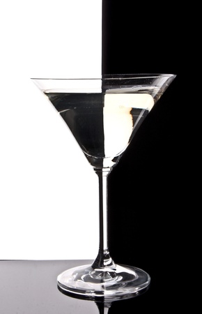 aperitif: Martini glass on black  and white background