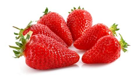 few: Few Strawberries isolated on white