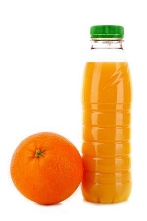 Bottle with juice and orange isolated on white photo