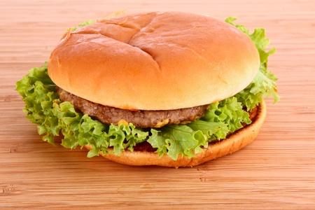 Sandwich on wooden plate photo