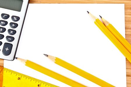 Pencils, paper, calculator and ruler Stock Photo - 8914973