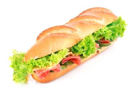 embutidos: Sandwich aislado en blanco