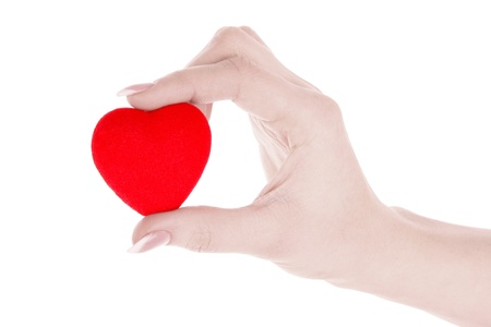 red heart in hand isolated on white Stock Photo - 9005236