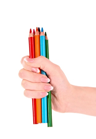 Hand with color pencils isolated on white Stock Photo - 9052112