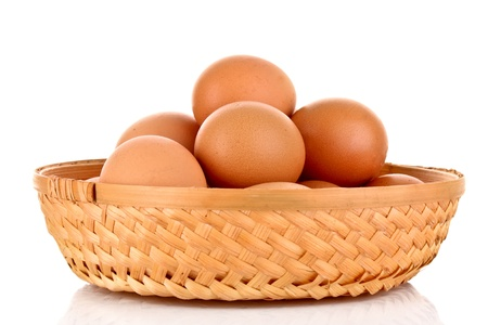 product range: Eggs in basket isolated on white