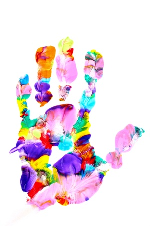 Colored hand print on white photo