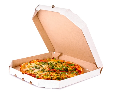 Tasty Italian pizza over white photo