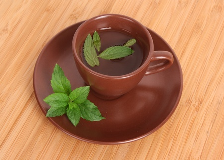 Cup of green tea on the saucer with mint on wooden surface photo