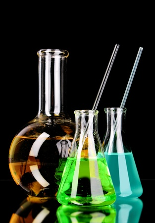 Laboratory glassware on black background Stock Photo - 9149910