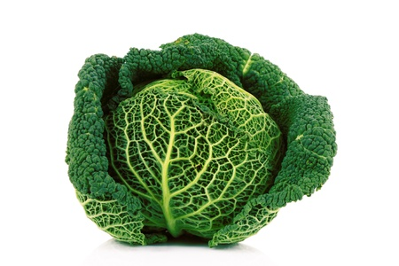 Savoy cabbage isolated on white photo