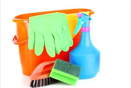 house clean: cleaning supplies isolated on white