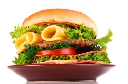 swiss: hamburger isolated on white Stock Photo