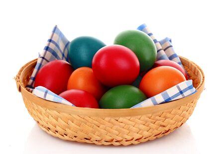 Easter eggs in backet isolated on white Stock Photo - 9281640