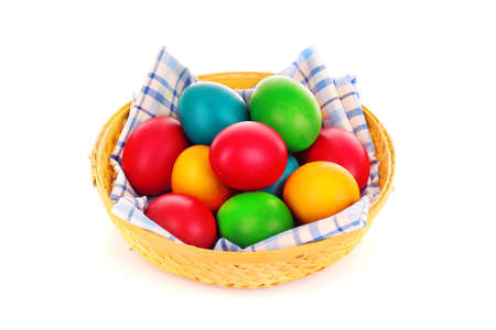 Easter eggs in backet isolated on white Stock Photo - 9281626