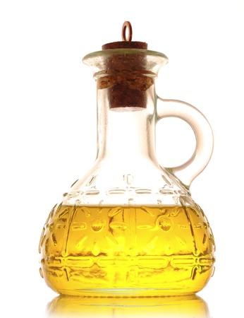 aceite de cocina: Botella de aceite aislado en blanco Foto de archivo
