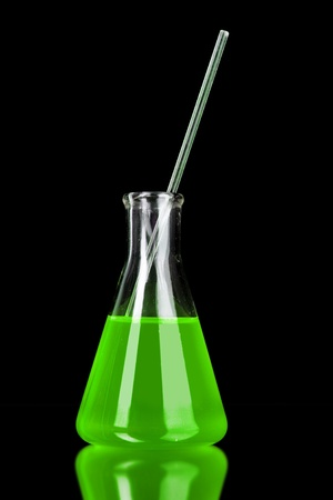 milliliters: conical flask on black background