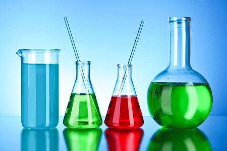 scientifical: Laboratory glassware on black background