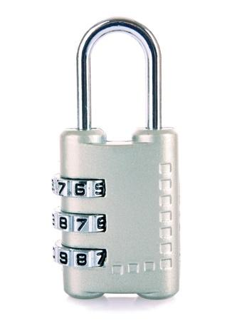 metal fastener: Digital combination lock isolated on white