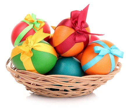 nest egg: Easter eggs in basket isolated on white