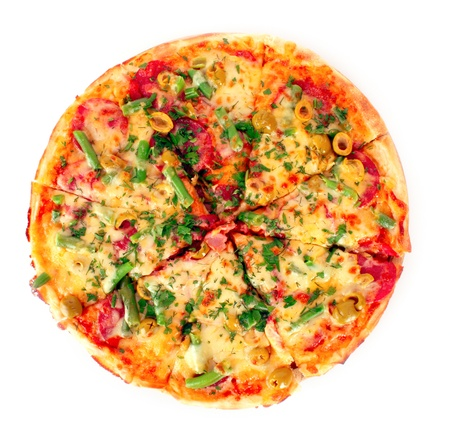 Pizza isolated on white photo