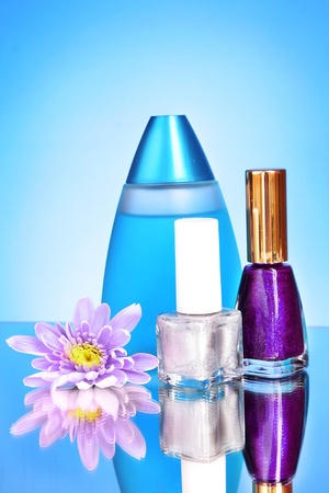 Pink fresh aster, perfume and varnish on blue background photo