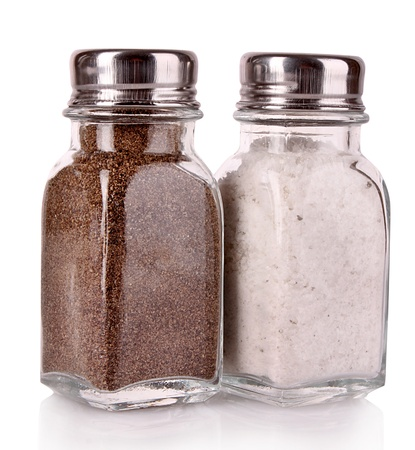 Salt and pepper shaker on a white background Stock Photo
