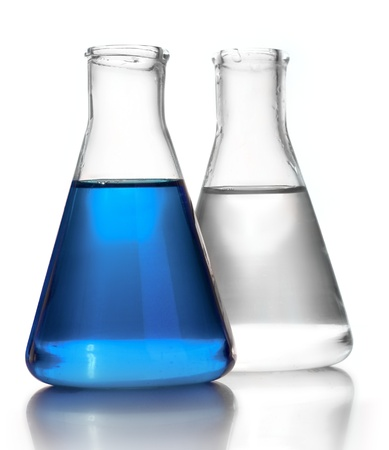 bioteknik: Test-tubes isolated on white. Laboratory glassware Stockfoto