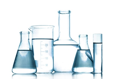 laboratories: Test-tubes in gray colors isolated on white. Laboratory glassware