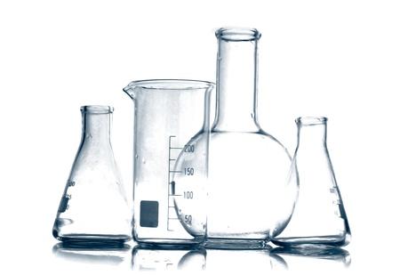 laboratory equipment: Test-tubes  isolated on white. Laboratory glassware Stock Photo