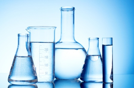 Test-tubes blue colors. Laboratory glassware Stock Photo - 9384680