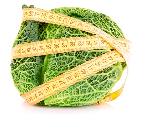 Savoy cabbage and measure tape isolated on white photo