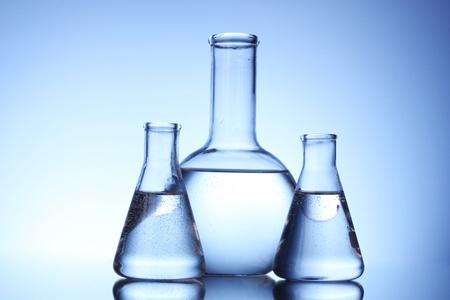 Test-tubes blue colors. Laboratory glassware photo