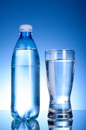 Bottle of water and glass on blue background