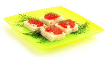 Red caviar and bread isolated on white photo