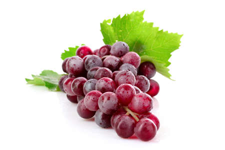 Pink grape cluster isolated on white photo