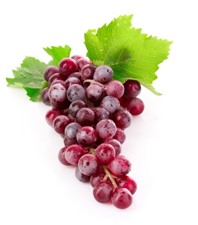 grapes on vine: Pink grape cluster isolated on white Stock Photo