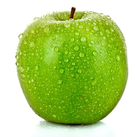 fruit drop: Green apple with water drops isolated on white