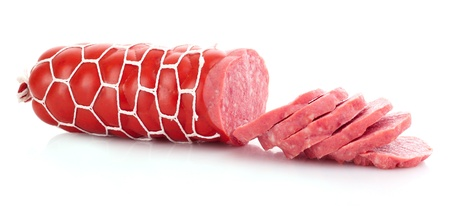 Sausage isolated on white photo