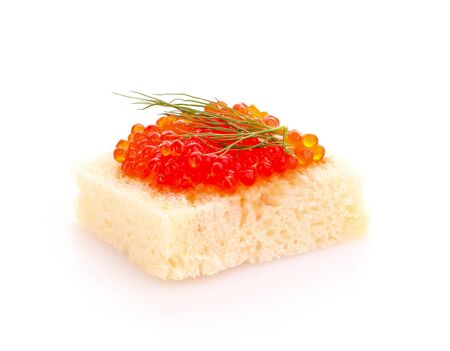Red caviar and bread isolated on white Stock Photo - 9620996