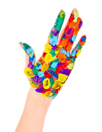 Painted woman hand in colorful paints isolated on white Stock Photo - 9621183