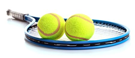 Tennis racket and balls isolated on white photo