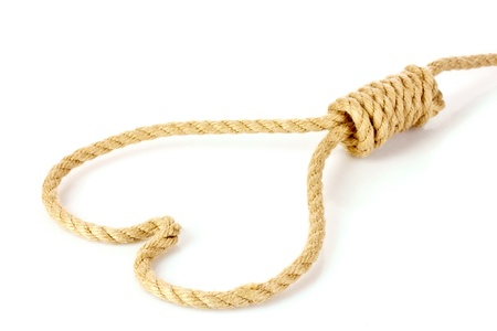 noose: Suicide Noose in heart  symbol isolated on white