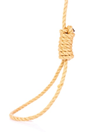 capital punishment: Suicide Noose isolated on white Stock Photo