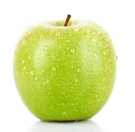 green apple: Green apple with water drops isolated on white