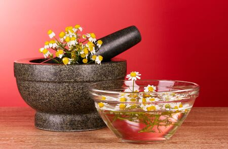Mortar and pestle with flowers on red background photo