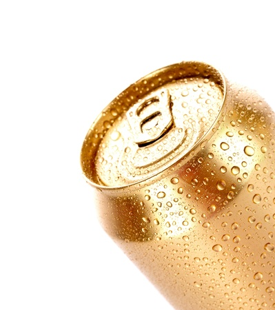 Closeup of metallic aluminum can with water drops isolated on white photo