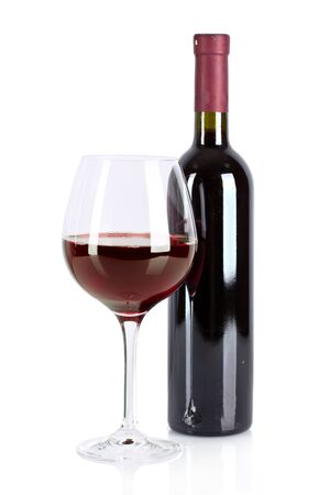 Bottle and glass with wine isolated on white Stock Photo - 9714796
