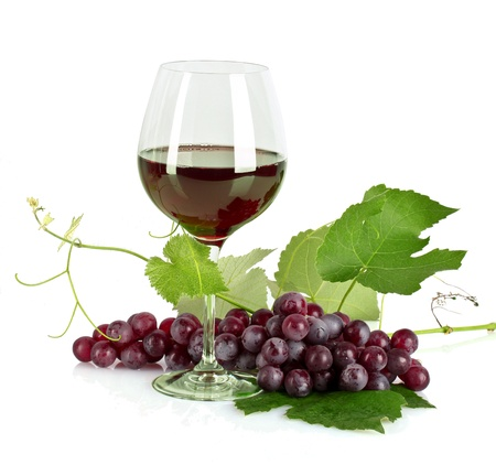 glass of red wine: Bottle and glass with wine isolated on white Stock Photo
