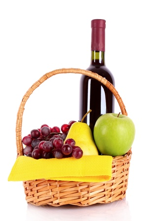 Wine and fruits isolated on white Stock Photo - 9714906