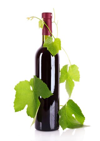 Wine bottle with leaves isolated on white Stock Photo - 9714928